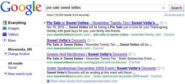 """pie sale sweet vettes"" Seach Engine Results Page (Nov. 21st)"